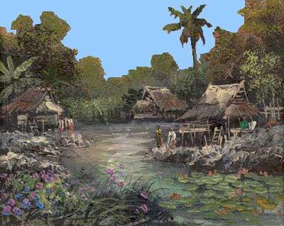 Cette peinture créée par un artiste Thaï inconnu illustre bien l'ambiance des villages traditionnels de son pays.